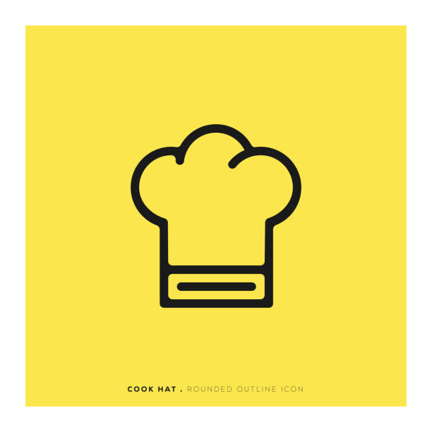 Cook Hat Rounded Line Icon Cook Hat Rounded Line Icon chef's hat stock illustrations