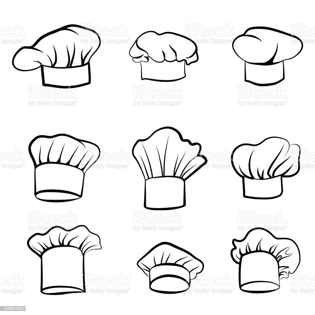 Cook hat set. Drawn hat chef cook sketch. Hat chef-cooker. vector art illustration