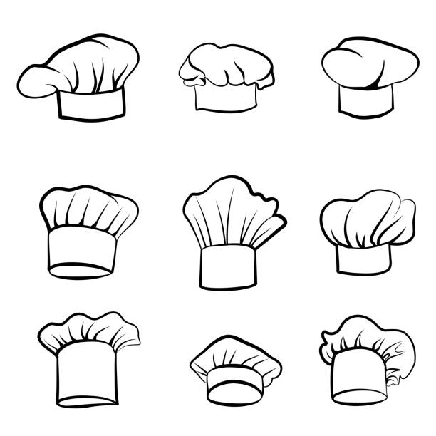 Cook hat set. Drawn hat chef cook sketch. Hat chef-cooker. Cook hat engraving set. Drawn hat chef cook. Hat chef-cooker. Vector sketching hat chef cook isolated on a white background chef's hat stock illustrations