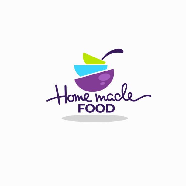 kochen zu hause zubereiteten speisen, bunte suppe schalen für ihr menü, logos, embleme und symbole - essen mund benutzen stock-grafiken, -clipart, -cartoons und -symbole
