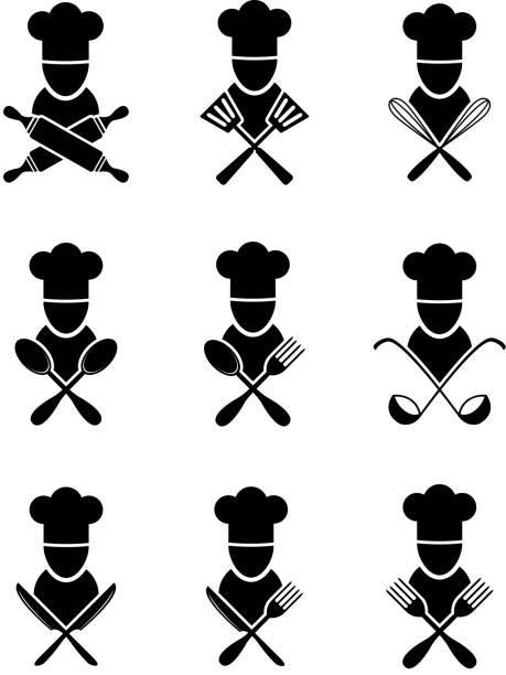 cook icon Set of black cooking icons utility knife stock illustrations