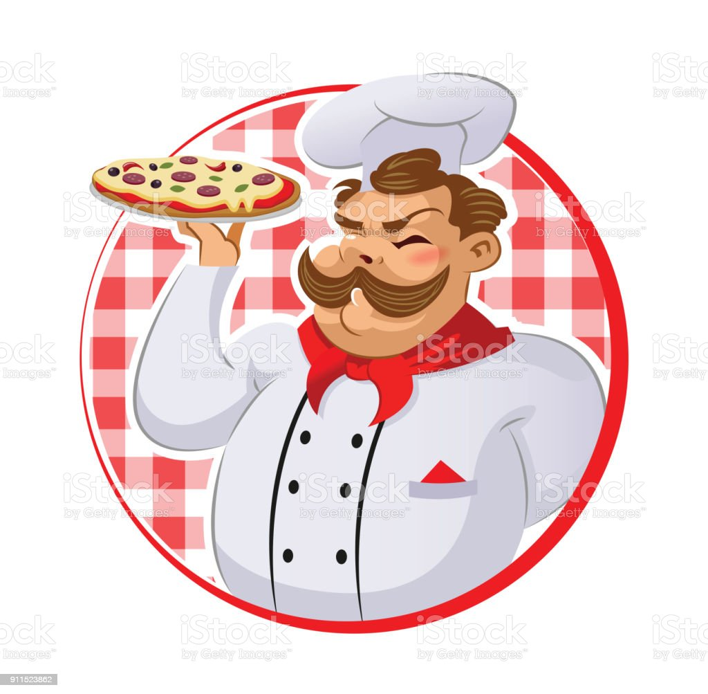 Cook in the kitchen preparing a pizza. vector art illustration