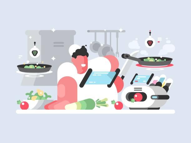 ilustraciones, imágenes clip art, dibujos animados e iconos de stock de cocinero en tapa blanca prepara delicioso plato - busy restaurant kitchen