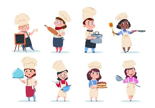 Cook kids. Cartoon chief children preparation meal. Cooking class vector set