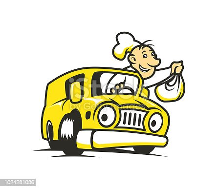 Cook man character with bag in his hand delivers goods. Man in chef's hat drives a car.