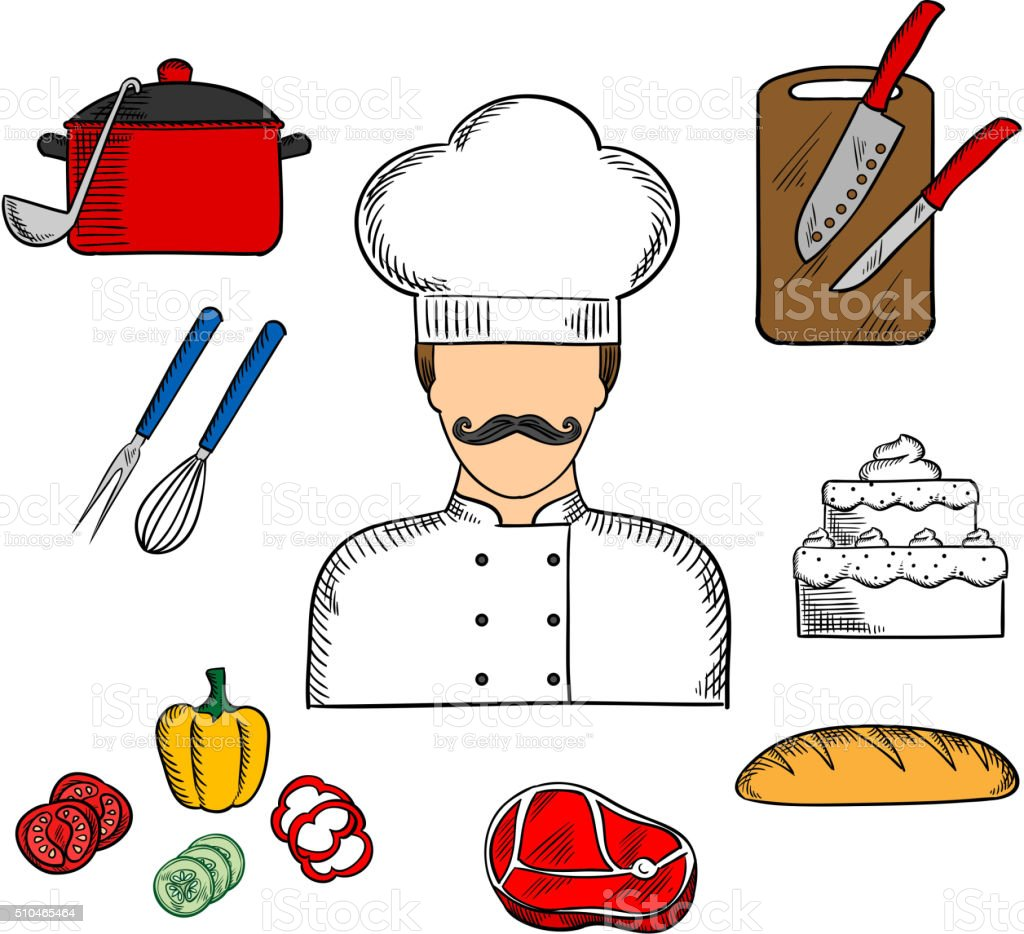 Ilustraci n de cocinar o con comida y utensilios cocina for Utensilios para chef
