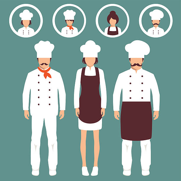 cook personel  vector cooking illustration, cartoon cook icons, restaurant chef hats cooking silhouettes stock illustrations