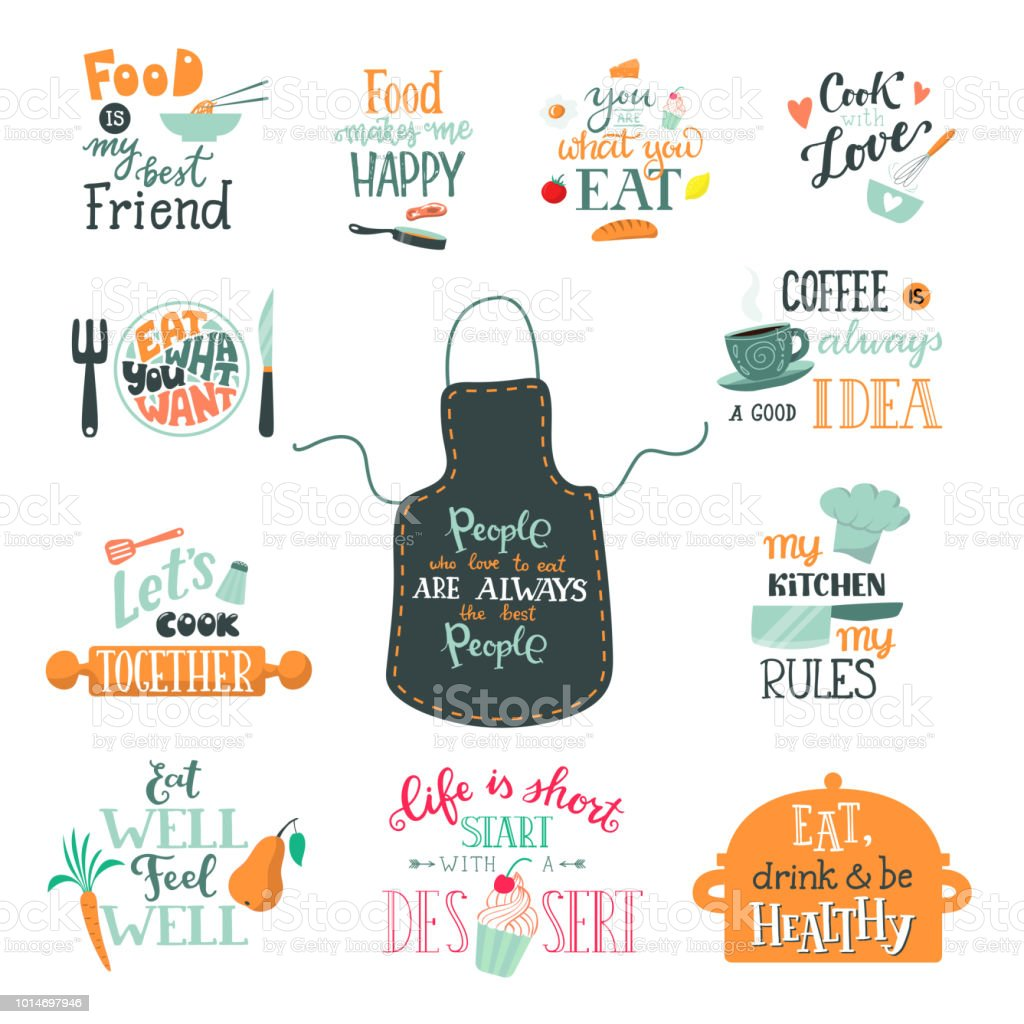Cook sign vector cooking or coffee lettering and cookery or baking typography template to print illustration set of text with kitchenware isolated on white background Cook sign vector cooking or coffee lettering and cookery or baking typography template to print illustration set of text with kitchenware isolated on white background. Apron stock vector