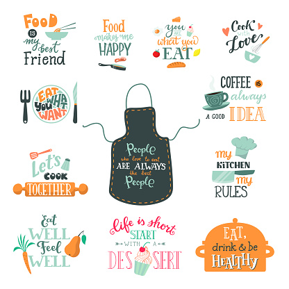 Cook Sign Vector Cooking Or Coffee Lettering And Cookery Or Baking Typography Template To Print Illustration Set Of Text With Kitchenware Isolated On White Background Stock Illustration - Download Image Now