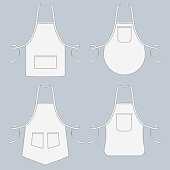 Cook uniform. Restaurant apron vector template collection