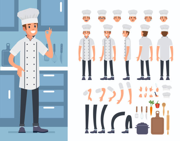 illustrazioni stock, clip art, cartoni animati e icone di tendenza di cook - kitchen situations