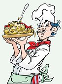 An a vector illustration of cook with pasta.