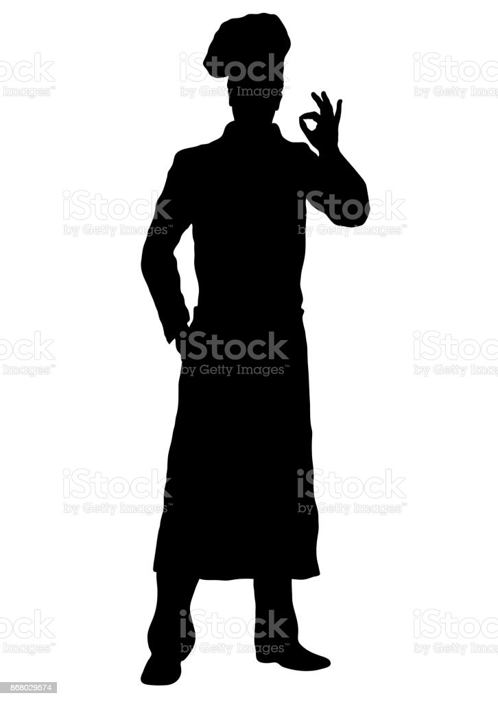 Cook vector silhouette, outline chef standing front side full-length, contour portrait male young human in a chef s form, toque, in an apron, isolated on white background, monochrome illustration vector art illustration