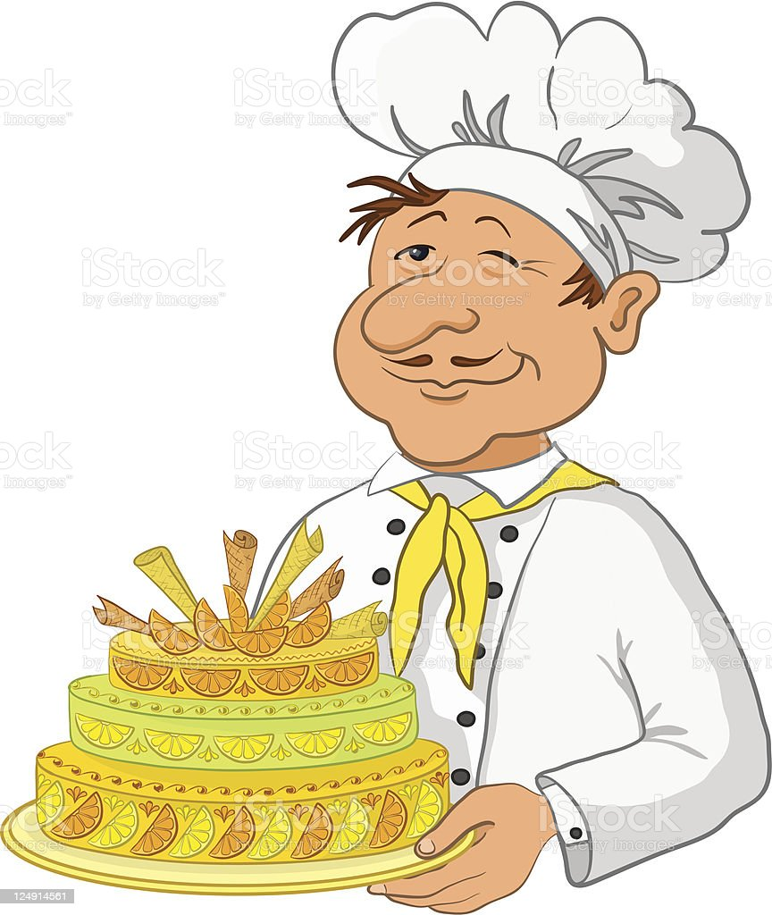 Cook with cake royalty-free stock vector art