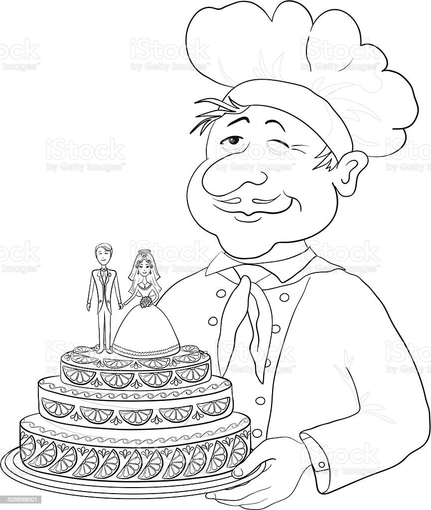 Cook With Holiday Wedding Cake Contour Stock Vector Art & More ...