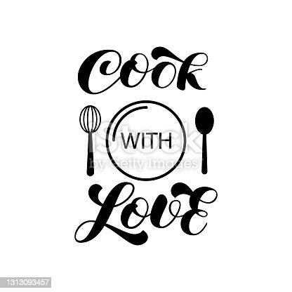 istock Cook with love brush lettering for banner or card. Vector stock illustration 1313093457