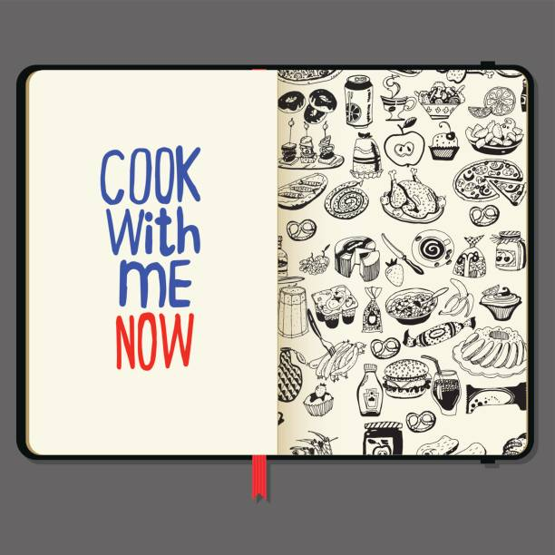 Cook with Me Now Lettering And Food. Vector Notebooks with Pencil and Hand Drawn Doodles. Cook with Me Now Lettering And Food. Vector Notebooks with Pencil and Hand Drawn Doodles. cooking black and white stock illustrations