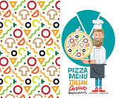 cook with pizza and menu vector illustration isolated on white background