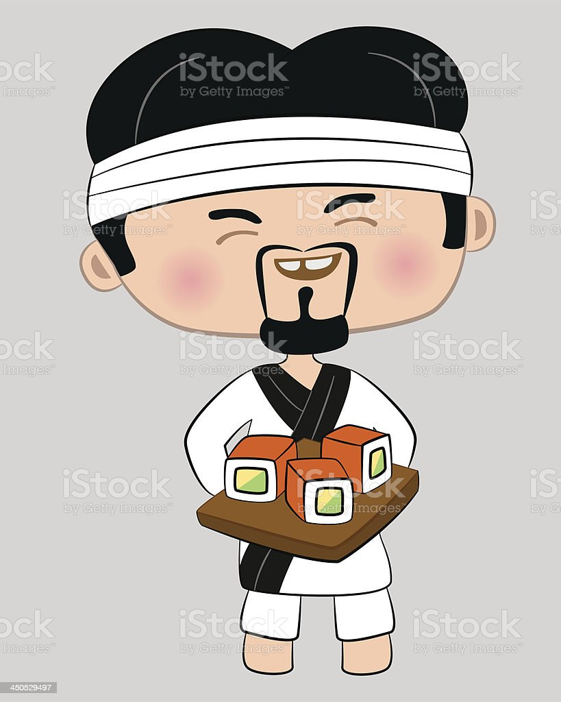 Cook with tray of sushi royalty-free stock vector art