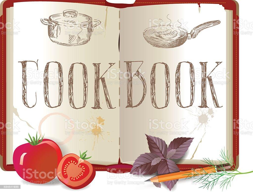 Cookbook and vegetables vector art illustration