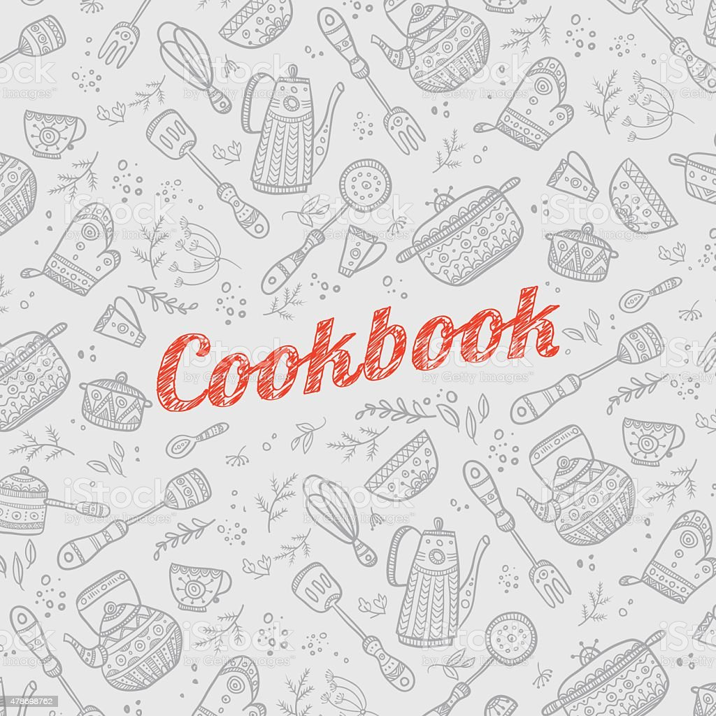 cookbook cover with kitchen items vector art illustration
