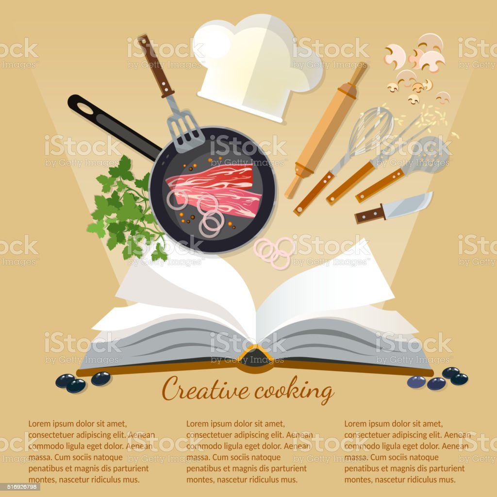 Cookbook creative cooking kitchenware and food flat style vector art illustration