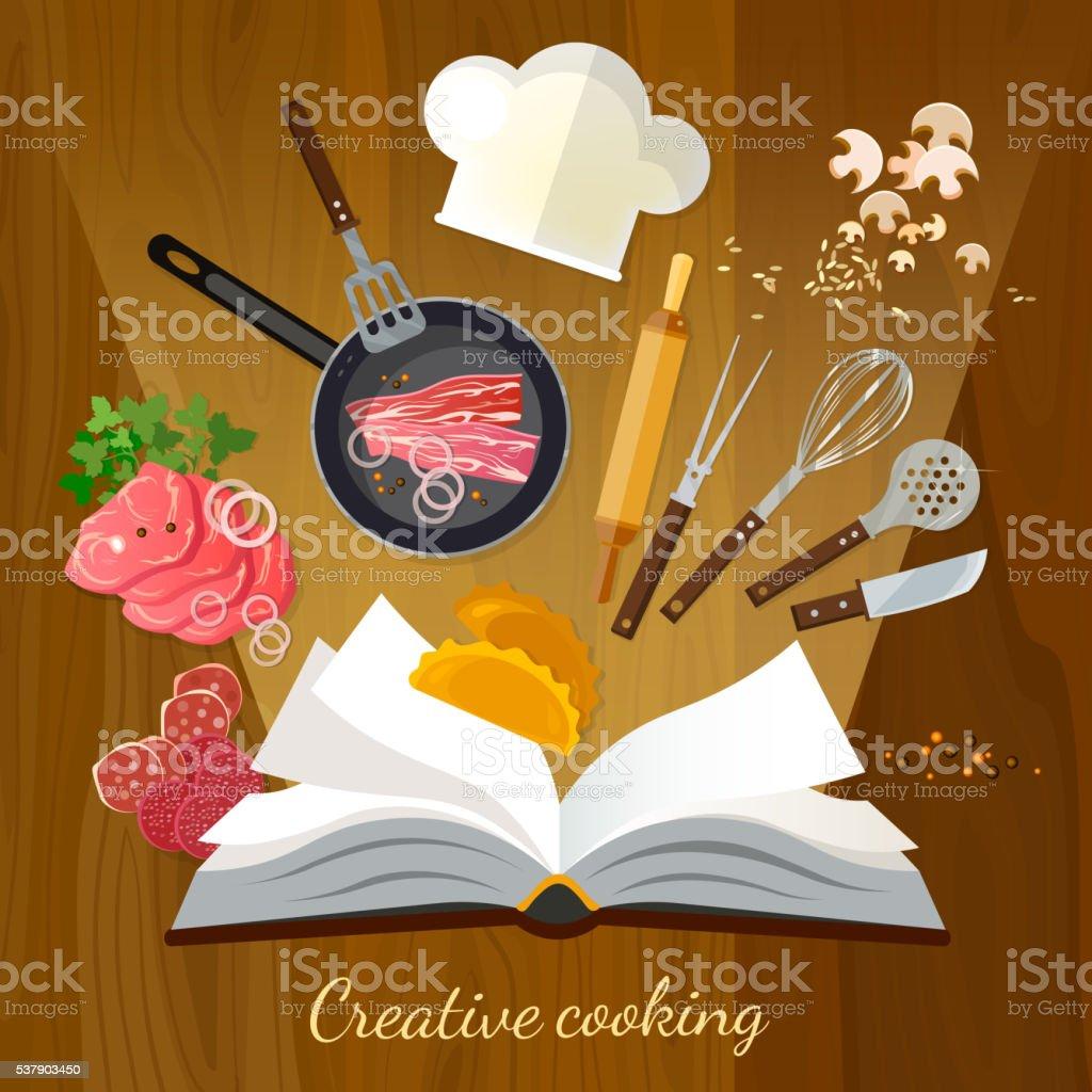 Cookbook creative cooking vector art illustration