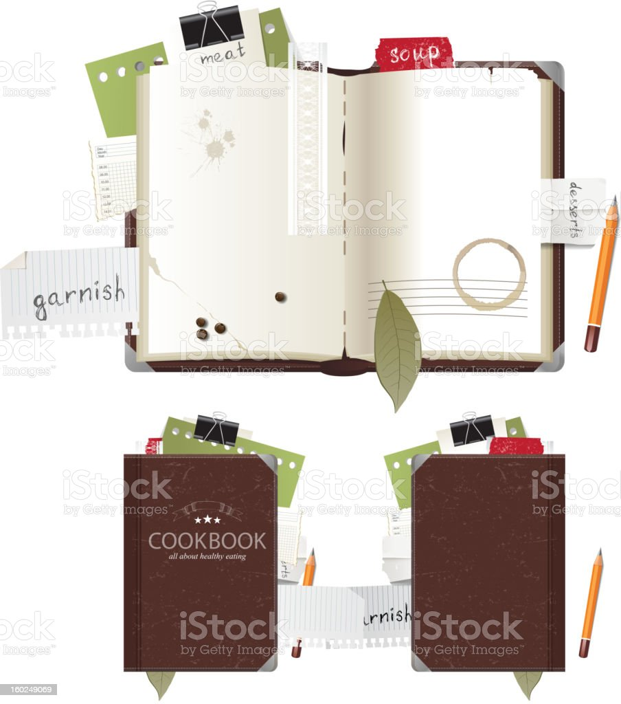 A cookbook placed on a stand open to a recipe vector art illustration