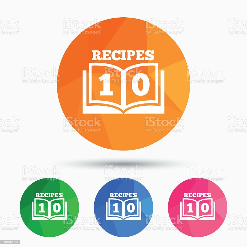 Cookbook sign icon. 10 Recipes book symbol. royalty-free cookbook sign icon 10 recipes book symbol stock vector art & more images of badge