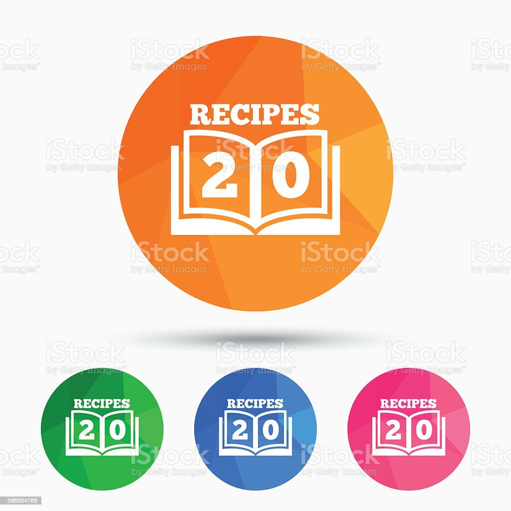 Cookbook sign icon. 20 Recipes book symbol. royalty-free cookbook sign icon 20 recipes book symbol stock vector art & more images of badge