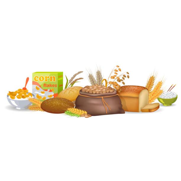 gekochtes getreide, gebackenes brot und bio-spikes - spitzenkernstück stock-grafiken, -clipart, -cartoons und -symbole