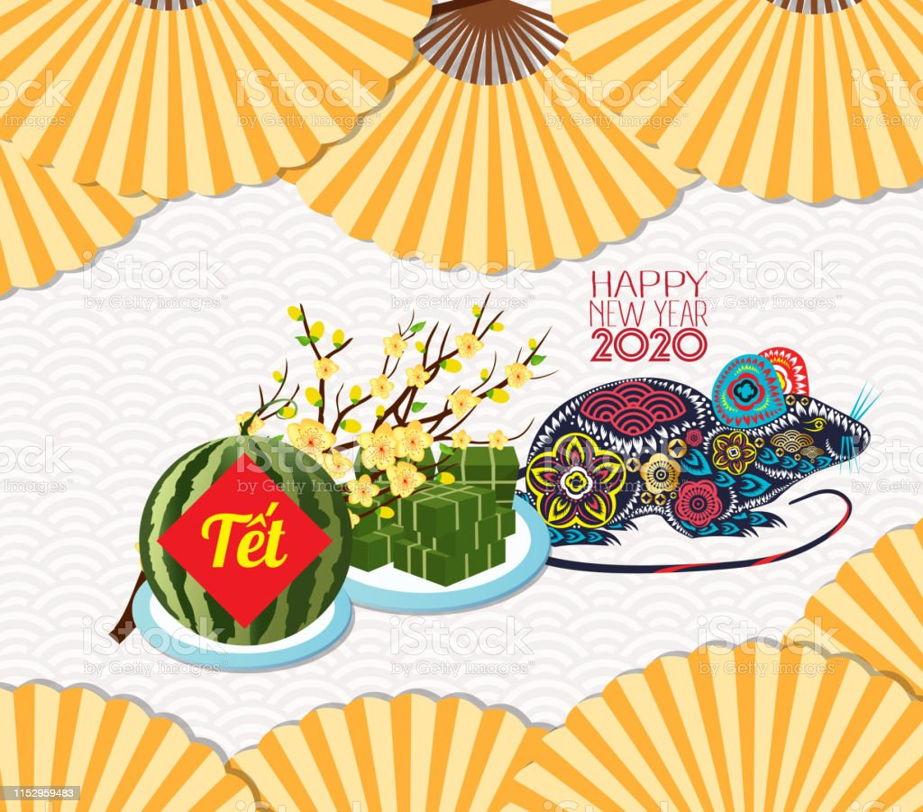Vietnamese New Year 2020.Cooked Square Glutinous Rice Cake And Blossom Vietnamese New