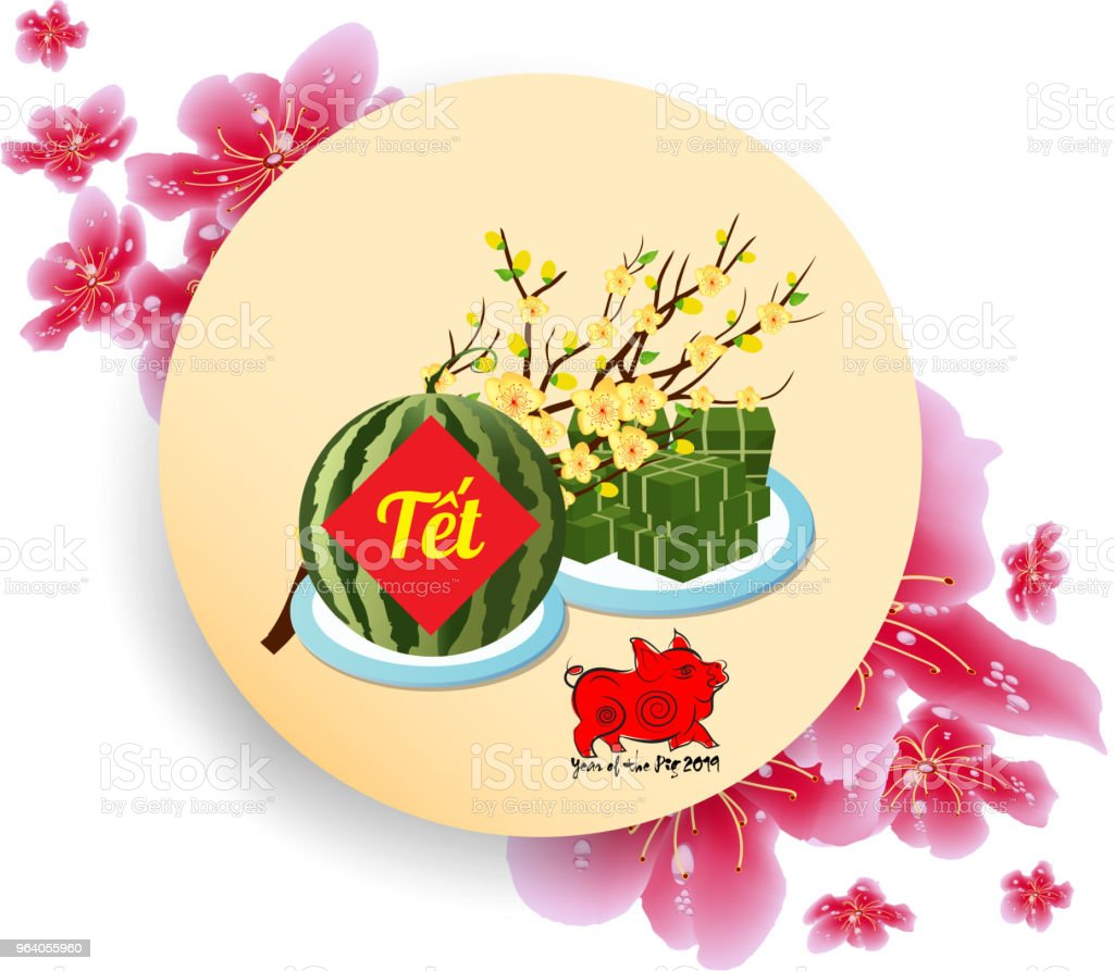 "Cooked square glutinous rice cake and blossom, Vietnamese new year. (Translation ""Tết"" : Lunar new year) - Royalty-free 2019 stock vector"
