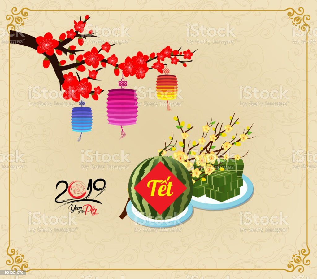 cooked square glutinous rice cake and blossom vietnamese new year translation tt