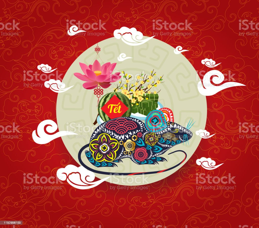 Vietnamese New Year 2020.Cooked Square Glutinous Rice Cake And Lotus Vietnamese New Year Translation Tết Lunar New Year Stock Illustration Download Image Now