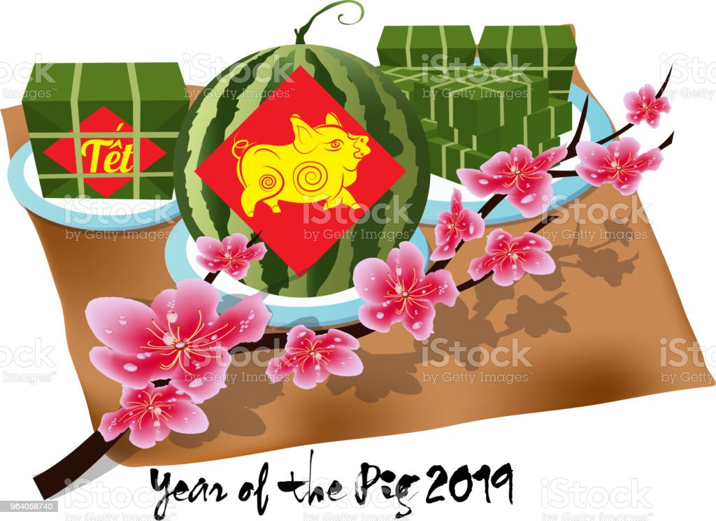 """Cooked square glutinous rice cake, Vietnamese new year. (Translation """"Tết"""" : Lunar new year) - Royalty-free 2019 stock vector"""