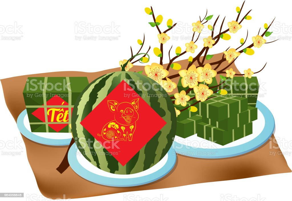 "Cooked square glutinous rice cake, Vietnamese new year. (Translation ""Tết"" : Lunar new year) - Royalty-free 2019 stock vector"