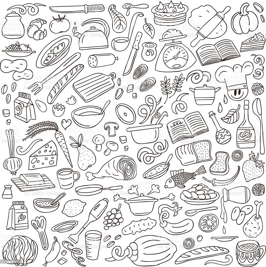 cookery doodles collection vector art illustration