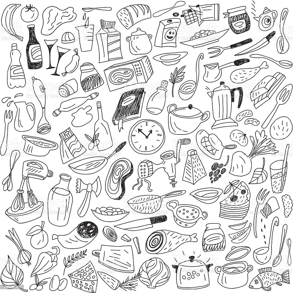 Cookery related doodles in black and white royalty-free stock vector art