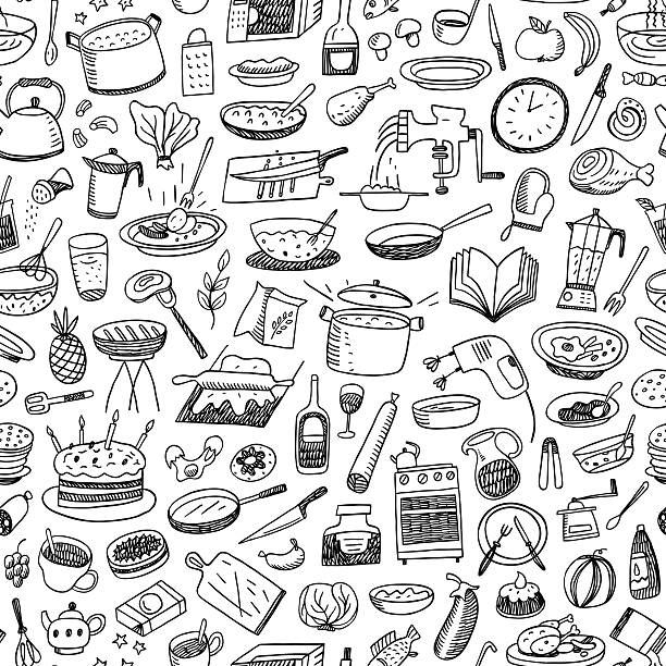 cookery seamless background cookery seamless background with icons in sketch style cooking patterns stock illustrations