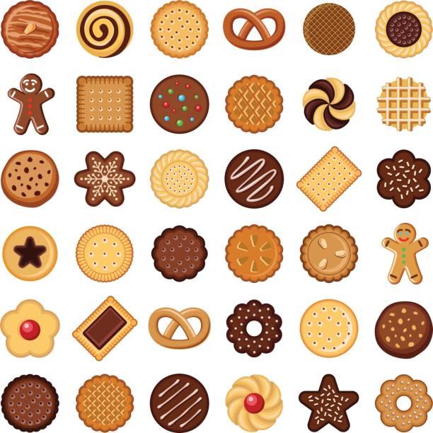 ilustrações de stock, clip art, desenhos animados e ícones de cookie and biscuit - bolacha