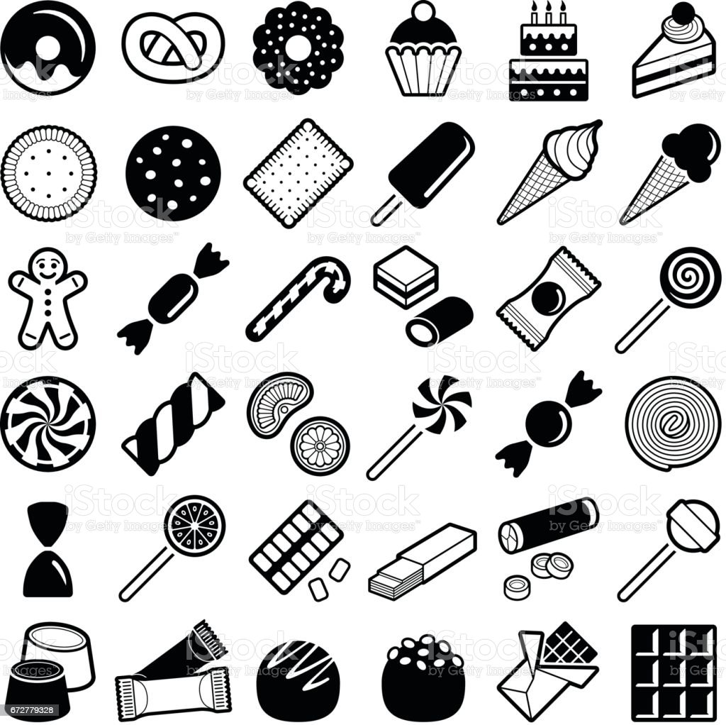 Cookie and candy icons vector art illustration