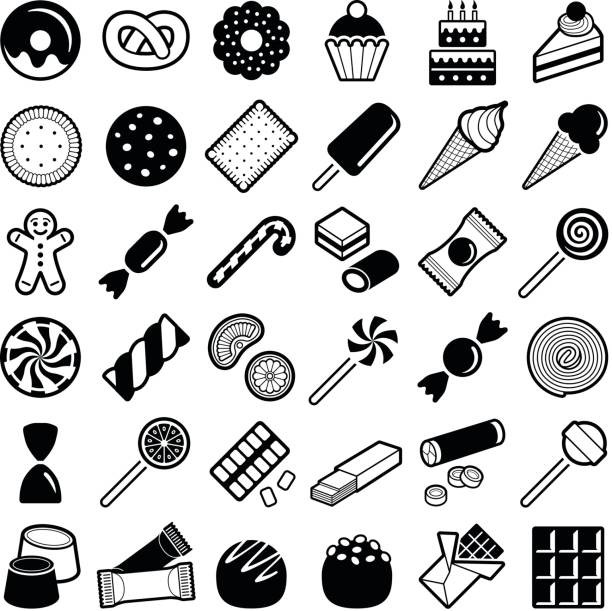 Cookie and candy icons Cookie and candy icon collection - vector illustration candy icons stock illustrations