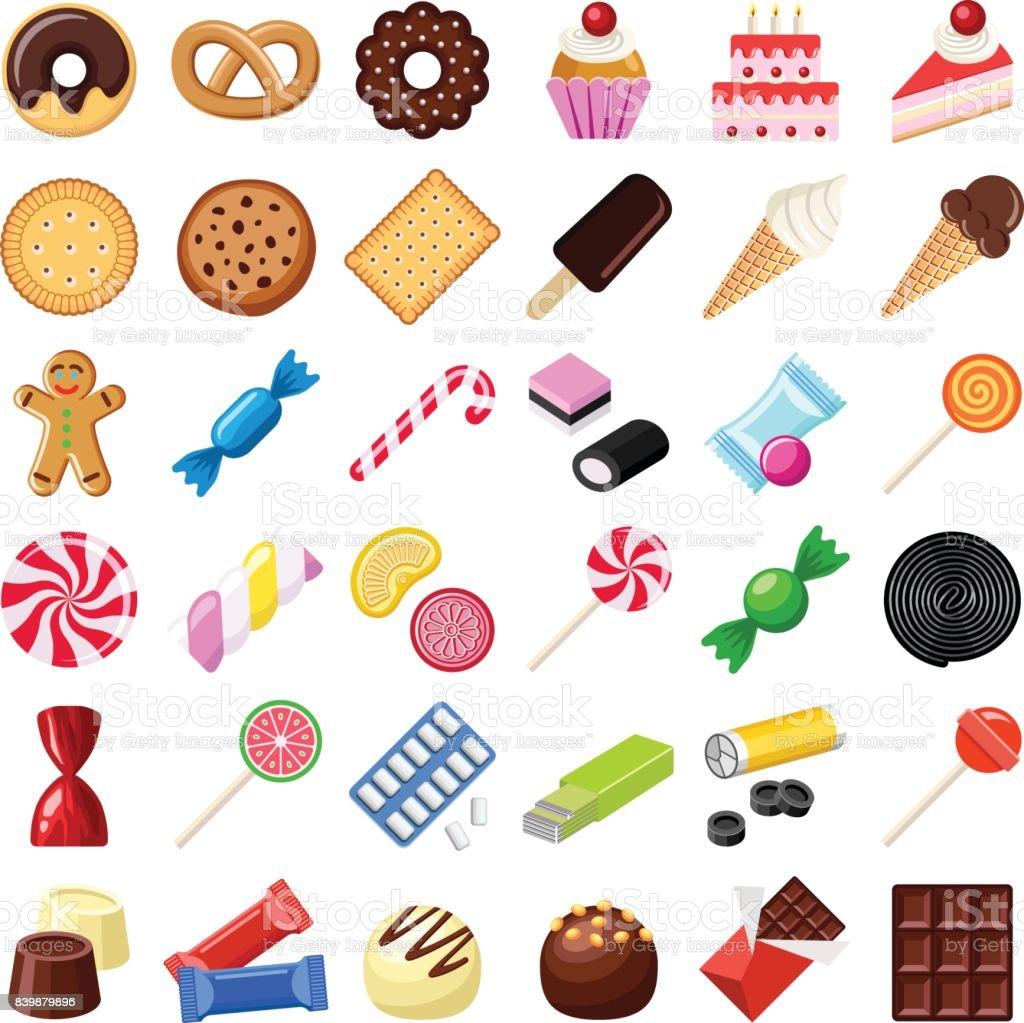 Galletas y dulces - ilustración de arte vectorial