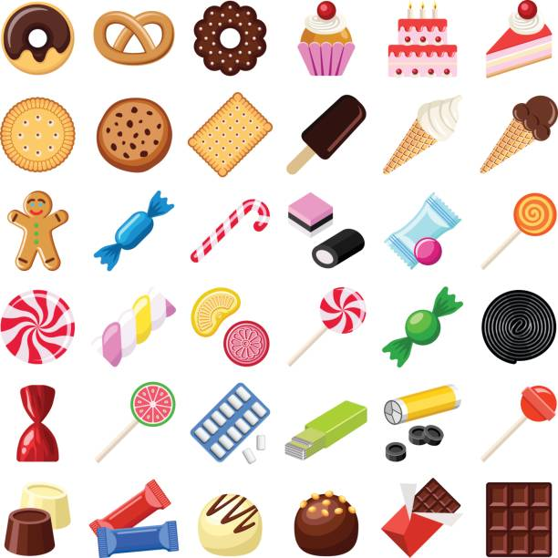Cookie and candy Cookie and candy collection - vector color illustration candy icons stock illustrations