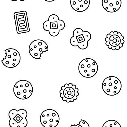 Cookie Baked Dessert Vector Seamless Pattern