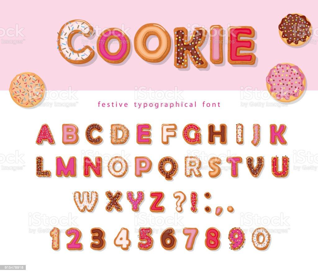 Cookie Hand gezeichnete dekorative Schriftart. Cartoon-süße ABC Buchstaben und zahlen. Zum Geburtstag oder Valentinstag Karten, niedlichen Design für Mädchen. - Lizenzfrei Alphabet Vektorgrafik