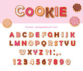 Cookie hand drawn decorative font. Cartoon sweet ABC letters and numbers. For birthday or Valentines day cards, cute design for girls. Vector