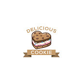 cookie ice cream sandwiches logo. Ice cream badge, label, logo, icons design Vector illustration templates. Chocolate chip cookie isolated on white background cartoon vector illustration.
