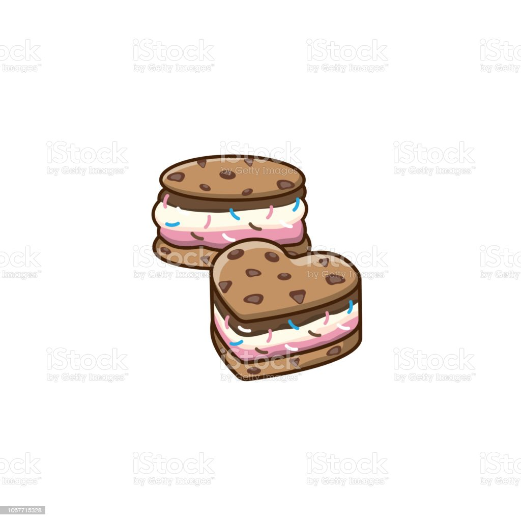 Cookie ice cream sandwiches logo ice cream badge label logo icons design vector illustration templates chocolate chip cookie isolated on white